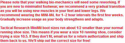 Tactical Research Minimil Boot Sizing
